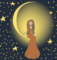 Girl on the moon vector image