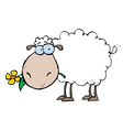 Sheep Carrying A Flower In Its Mouth vector image vector image