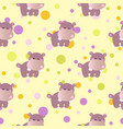 pattern with cute baby behemoth and circles vector image
