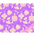 Repeating Floral Pattern Purple and yellow vector image