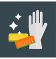 Rubber gloves and cellulose sponges flat icon vector image
