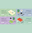 workplace web banners set in isometric projection vector image