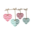 hearts hanging pink and blue decoration shadow vector image