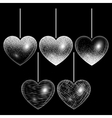 Set of hearts in silver style vector image