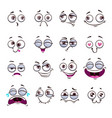funny cartoon comic faces on white background vector image