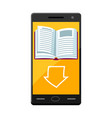 E-book concept smart phone and downloading book vector image