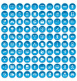100 network icons set blue vector image vector image