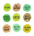 Set of food badges vegan gluten etc vector image
