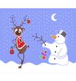 Reindeer And Snowman vector image