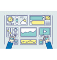 User uses wired gloves for data management vector image vector image