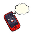 cartoon mobile phone with thought bubble vector image