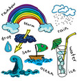 drawn colored rainbow vector image