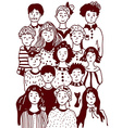 Group of people sketch - urban style vector image