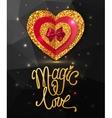 Magic love shining geometric background Gold vector image