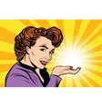 Retro woman advertising and light on the palm vector image