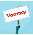 Vacancy placard recruiter advertisement signboard vector image