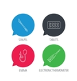 Electronic thermometer tablets and scalpel icons vector image