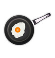 fried eggs in a frying pan isolated on a white vector image