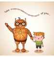 Baby sitter robot with child vector image