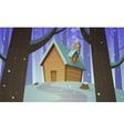 Cabin in woods - Winter vector image