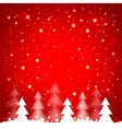 White simple Christmas trees on red background vector image vector image