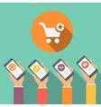 Mobile online shopping apps in flat design hands vector image