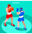 Boxing 2016 Summer Games 3D Isometric vector image