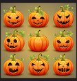 Big set of pumpkins for Halloween vector image