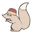 comic cartoon squirrel wearing hat vector image