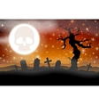 Halloween graveyard and moon with skull vector image