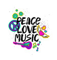 peace love music lettering with cartoon stickers vector image