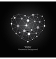 Silver heart made of connected lines and dots vector image