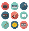 Music and Entertainment Flat Icon Set vector image