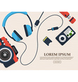 Set of gadget with photo camera flash card and vector image