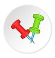 Pushpin icon cartoon style vector image
