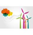 Colorful wind mills and clouds vector image