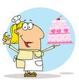 Cartoon cake maker vector image vector image