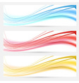 Set of bright abstract wave lines cards vector image