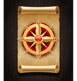 compass rose and vintage map vector image vector image