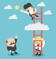 Businessman on a ladder grab the star vector image
