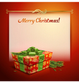Christmas background with a gift vector image