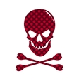 Red skull with dotted texture isolated on white vector image