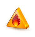 Warning fire icon vector image vector image