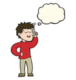 cartoon man with idea with thought bubble vector image