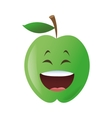 laughing apple cartoon icon vector image