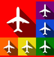 airplane sign set of icons vector image
