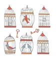 Beautiful collection of bird cages and little vector image