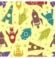 Cartoon rockets seamless pattern vector image