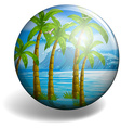 Coconut tree on round badge vector image
