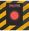 Panic button sign on yellow striped background vector image